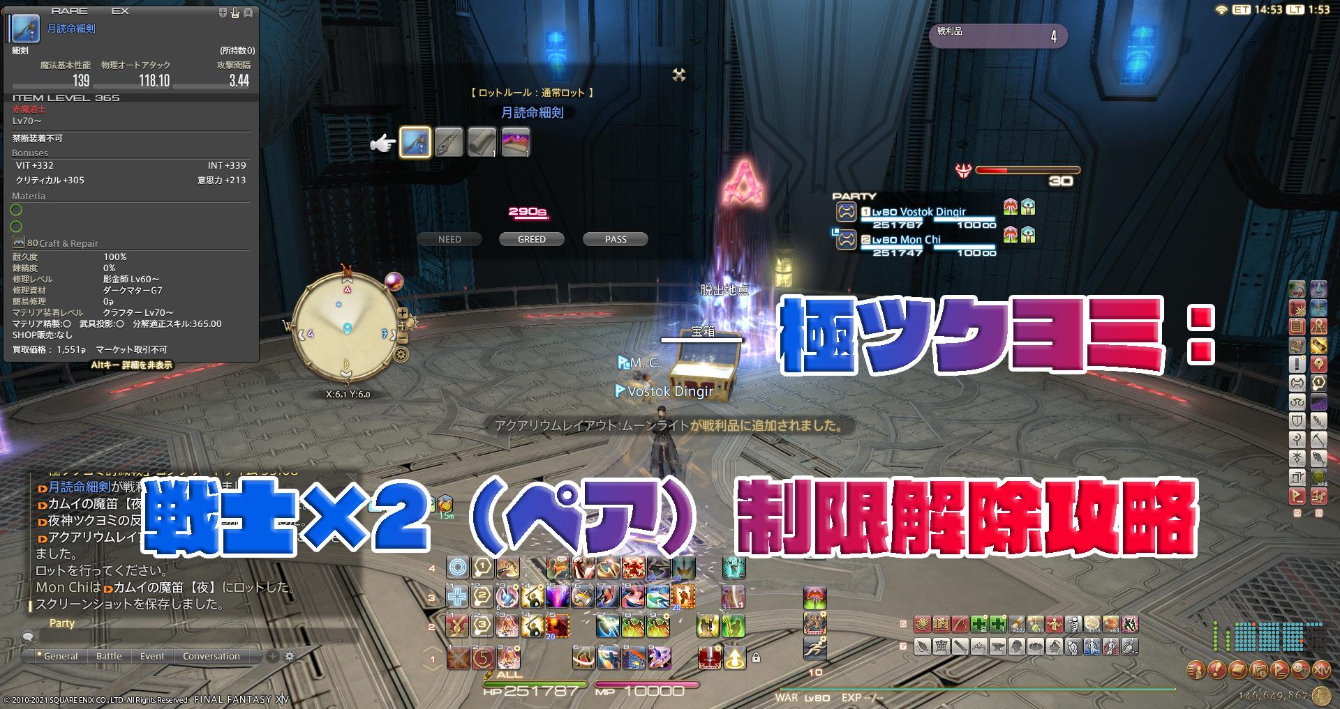 極ツクヨミ:戦士×2(ペア)制限解除攻略
